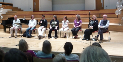 Friday night's panel: Brian Kay, Amy Bebbington, Neil Ferris, Jackie Roxborough, Helen Smith, Rachel Greaves, Pamela Cook and John Rutter