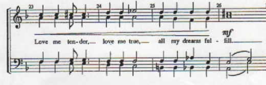 From David Wright's arrangement of 'Love Me Tender'