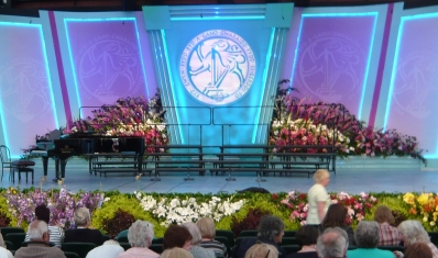 The main stage and its superabundance of flowers